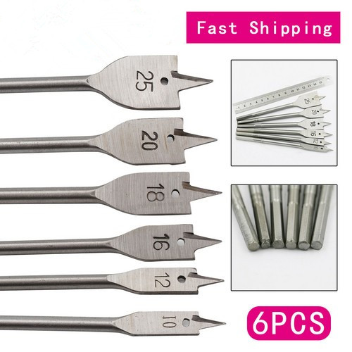 6Pcs Industrial Spade Paddle Flat Wood Boring Drill Bit Tools For Woodworking