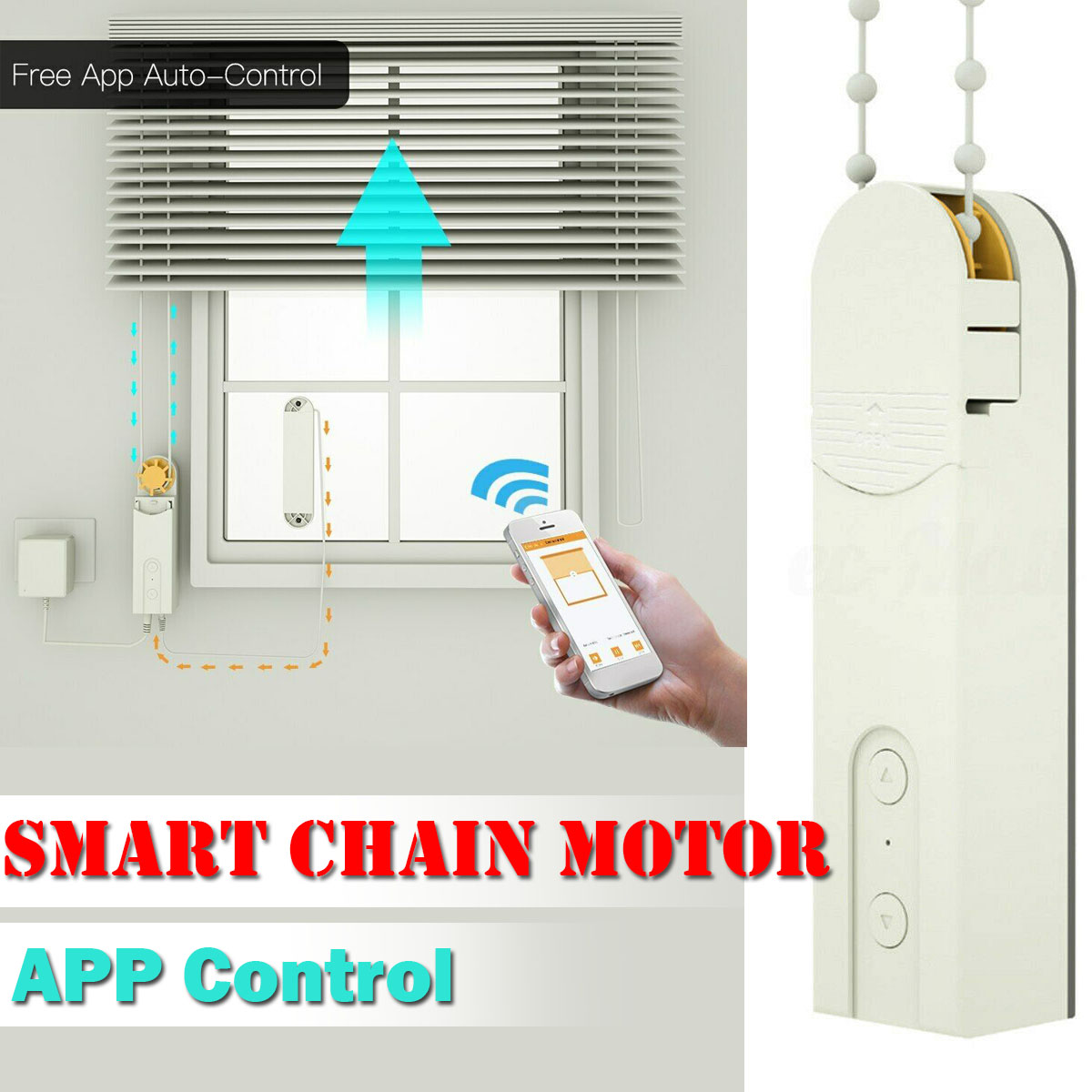 DIY Smart Chain Roller Blinds Shade Shutter Drive Motor Powered By APP Control