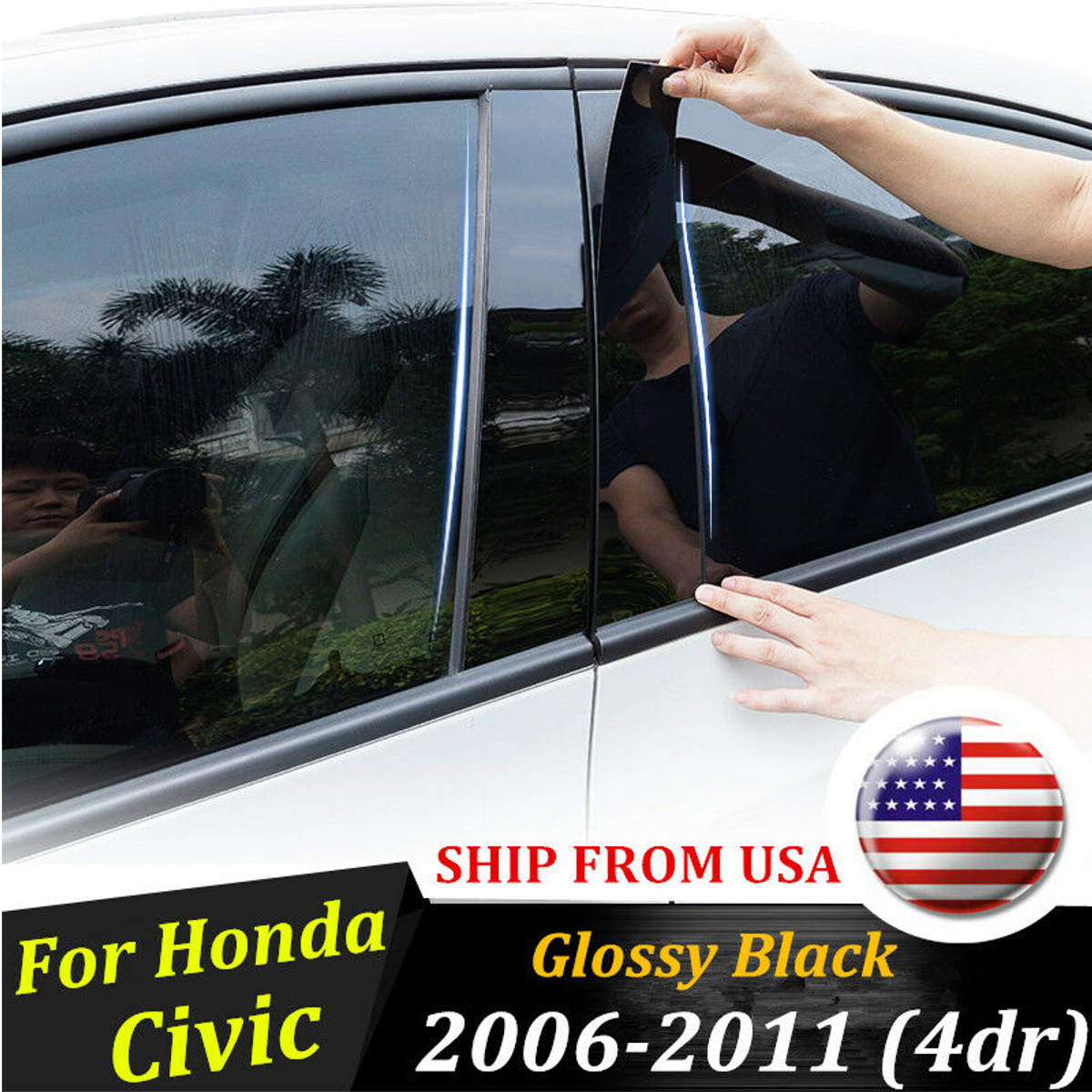 Black Pillar Posts for Honda Civic 2006-2011 4-Door 6pc Set Door Trim Cover Kit