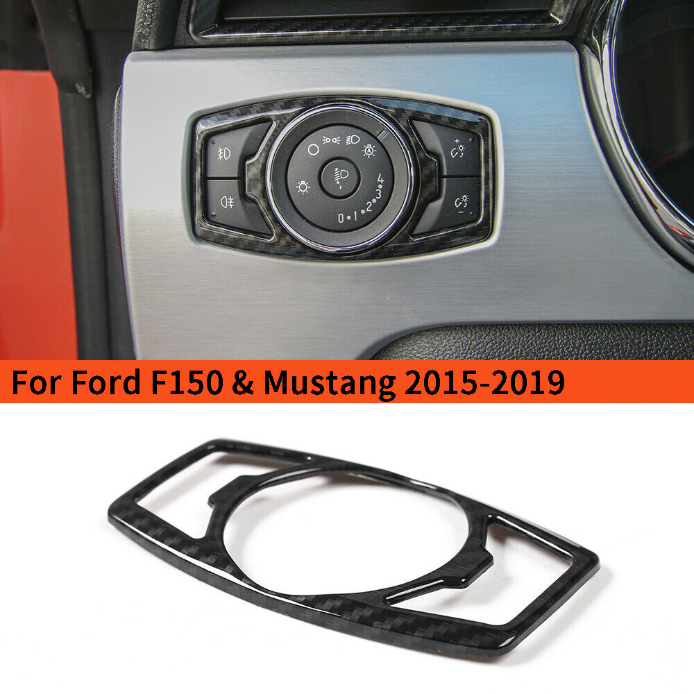 For Ford Mustang F-150 Blue Alloy Head light Switch Button Cover Trim Decor Ring