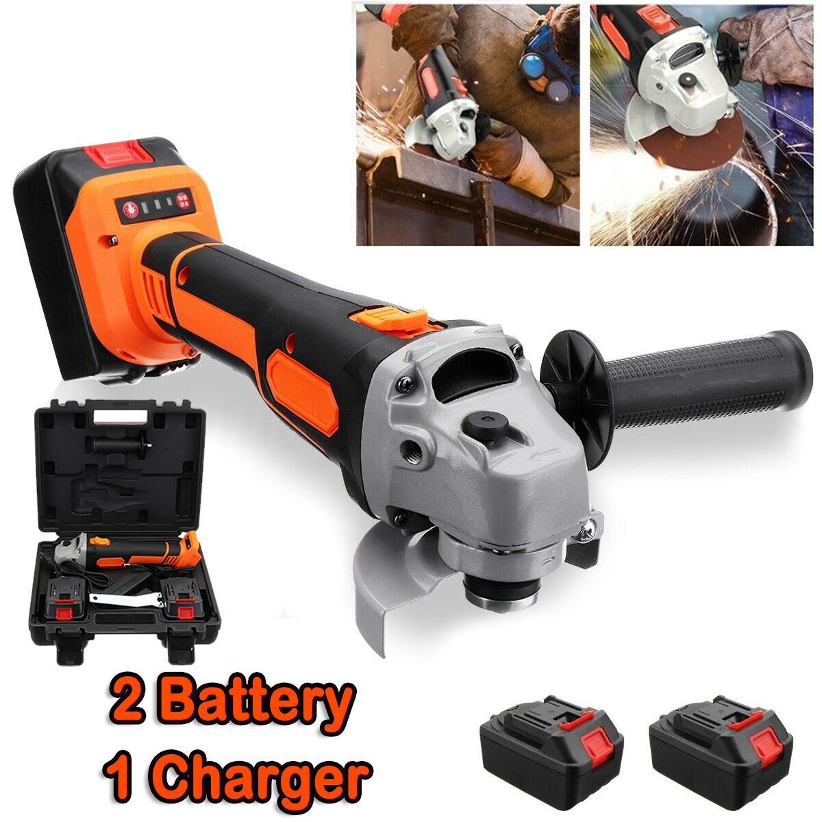 Cordless Brushless Electric Angle Grinder Grinding Cutting Tool Battery /&Toolkit