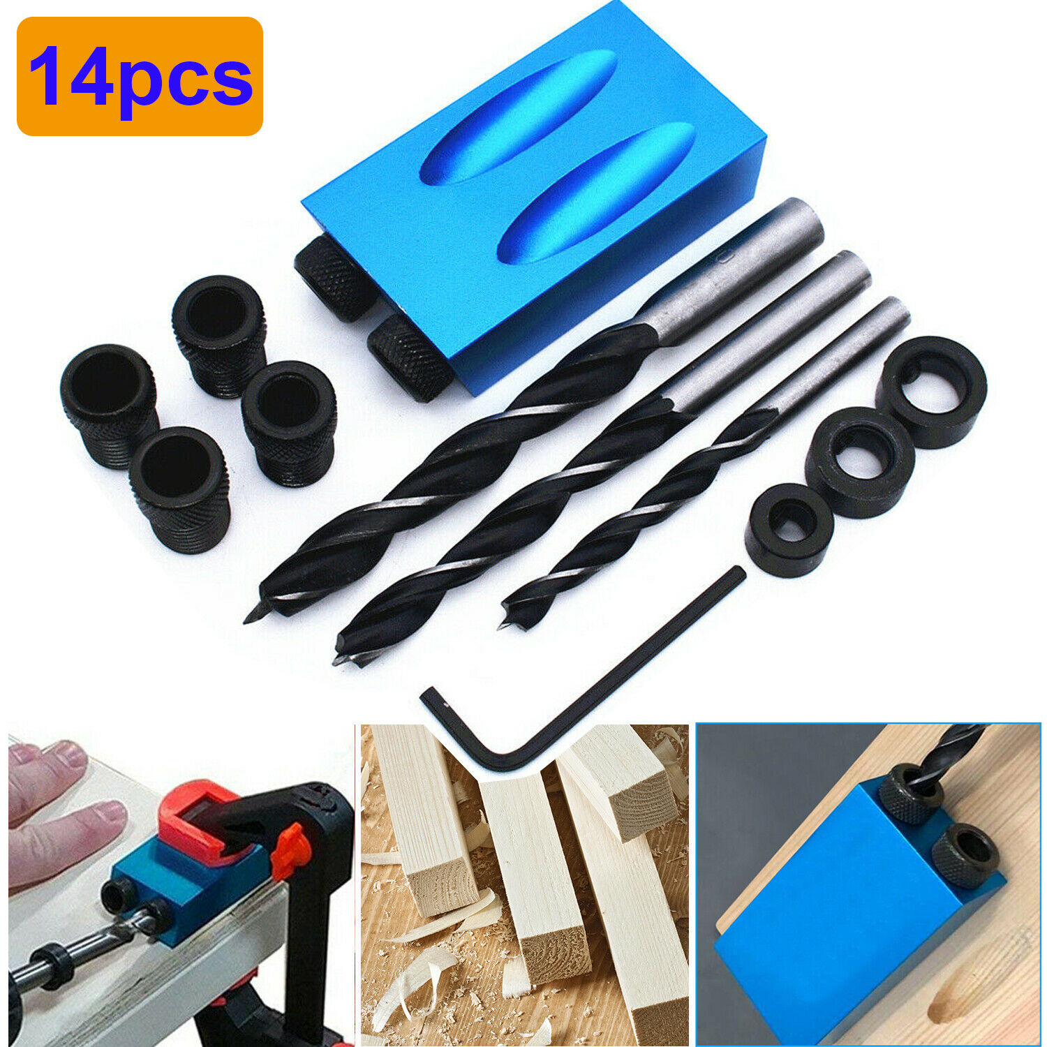 14PCS 14Pcs Pocket Hole Jig,Pocket Hole Screw Jig,15 Degree Dowel Drill Bit Kit,6//8//10mm Drive Adapter for Woodworking Angle Drilling Holes,Carpenters Woodwork Guides Joint Angle Carpentry Locator