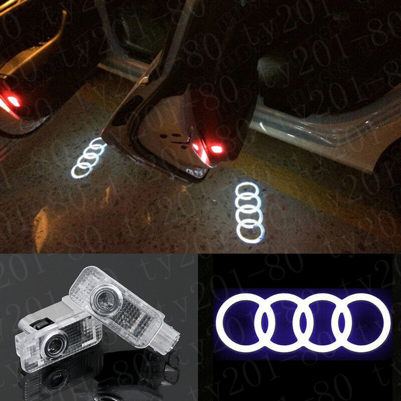 Eogifee Audi Car LED Door Courtesy LED Laser Projector Welcome Lights Ghost Shadow Light for The Replacement of Audi A4 A3 A6 Q7 Q5 A1 A5 TT A8 Q3 A7 R8 RS