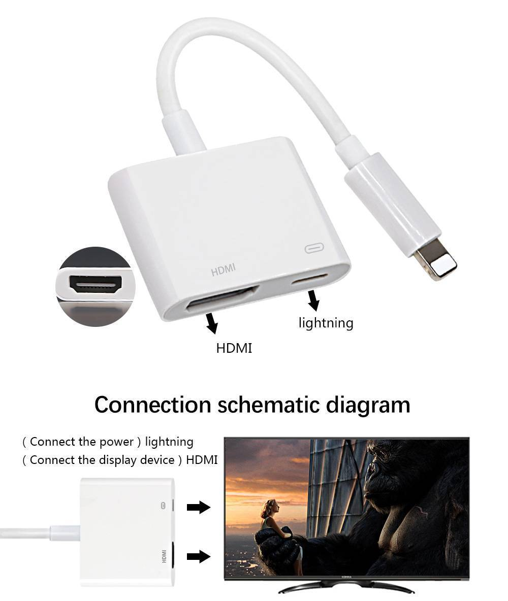 8pin Lightning To Hdmi Digital Adapter Cable Tv Av For Apple Iphone 6 Schematic 1 X