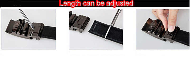 Mens black leather belts for jeans G Type automatic buckle belts