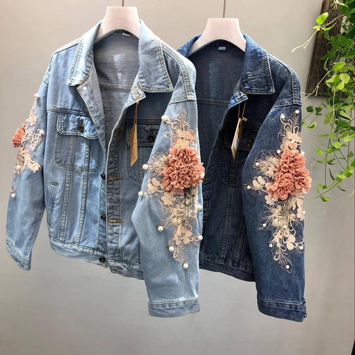 Top Damen Jeansjacke Übergangsjacke Bestickte dreidimensionale Blume Denim jacke