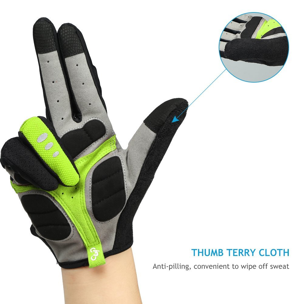 Full Finger Cycling Gloves Gel Pad Mountain Bike Outdoor  Touchscreen Gloves T17