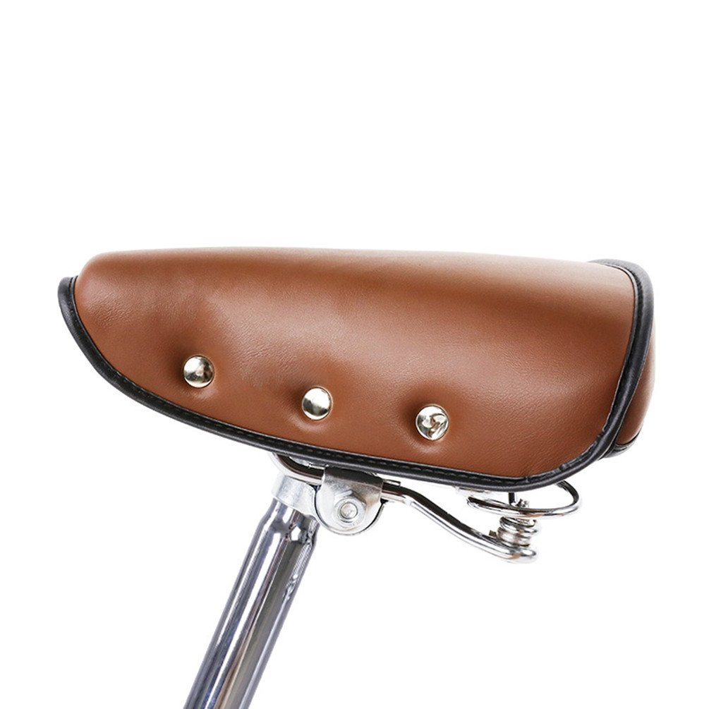 Vintage Spring Full Grain Leather Bicycle Saddle Retro Bike Seat Cushion Brown