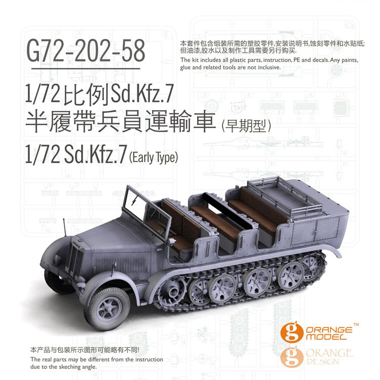 Orange Hobby 1//72 SCALE Sd.Kfz.7//2 37mm AAGun Flak 36 initial production 2020
