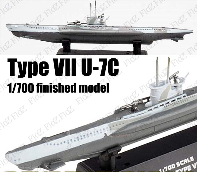1:700 U Boat Submarine German Navy Type VII B Camo