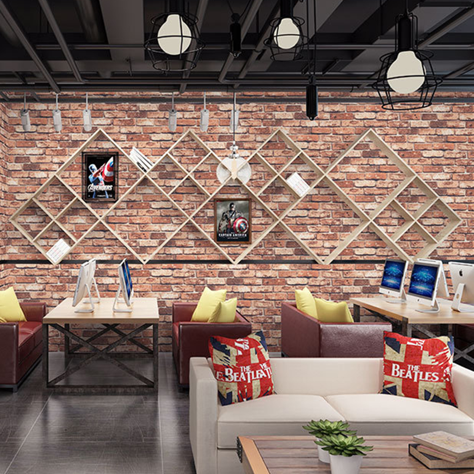 9.5M Rustic 3D Brick Stone Textured Stripe Vinyl Wallpaper ...