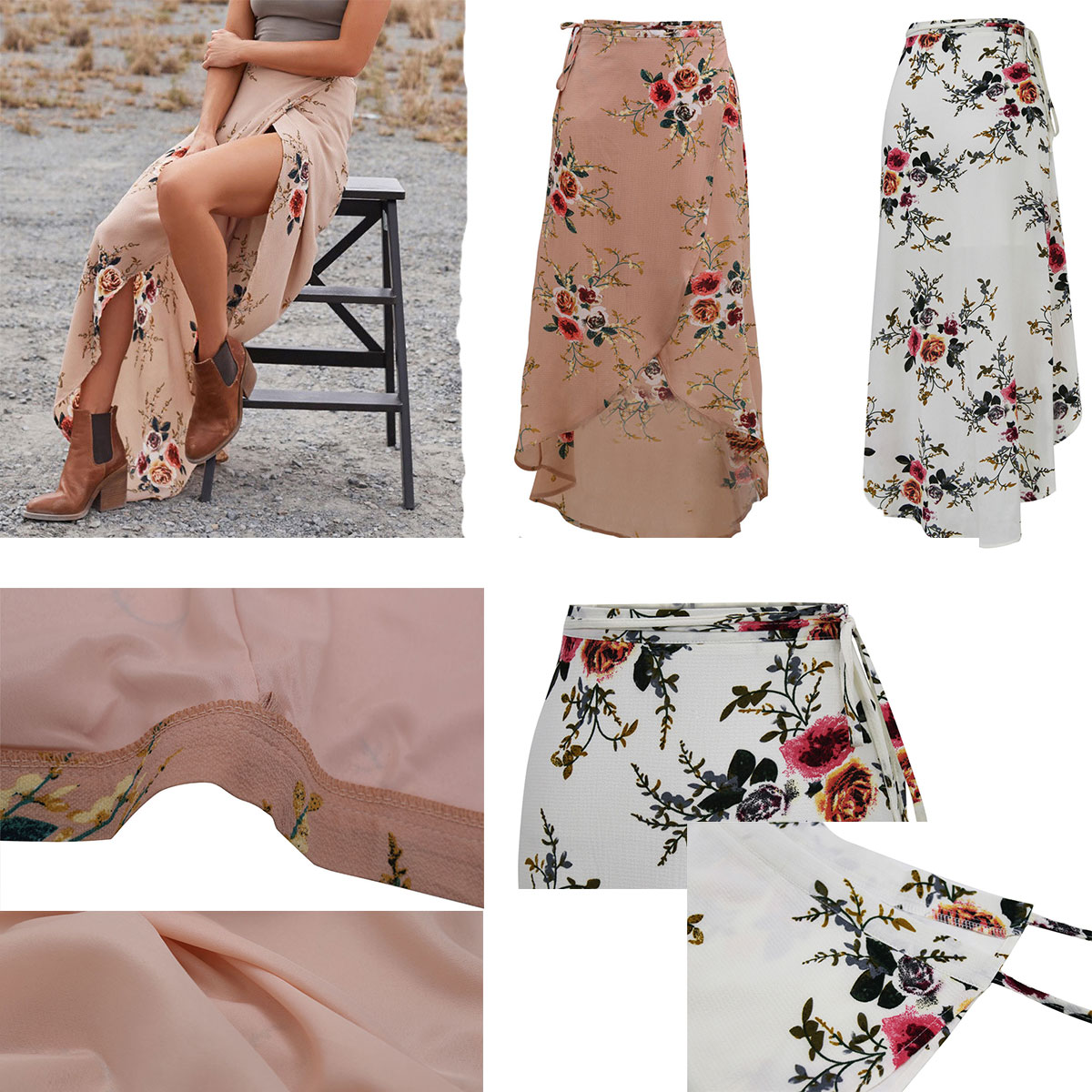 afc26edd2 Details about Boho Gypsy Women Floral Long Maxi Skirt Casual Summer Split  Beach Wrap Sun Dress