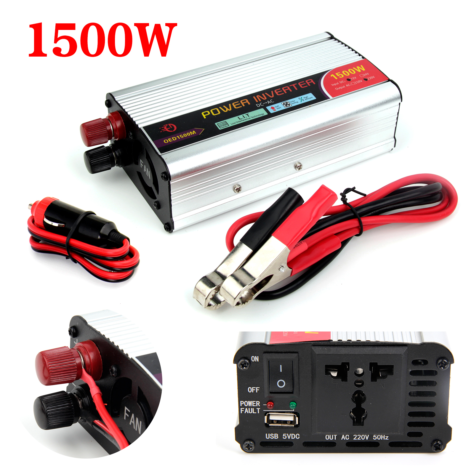1500W//3000W Car converter power inverter DC 12V to AC 230V-240V invertor3.1A USB