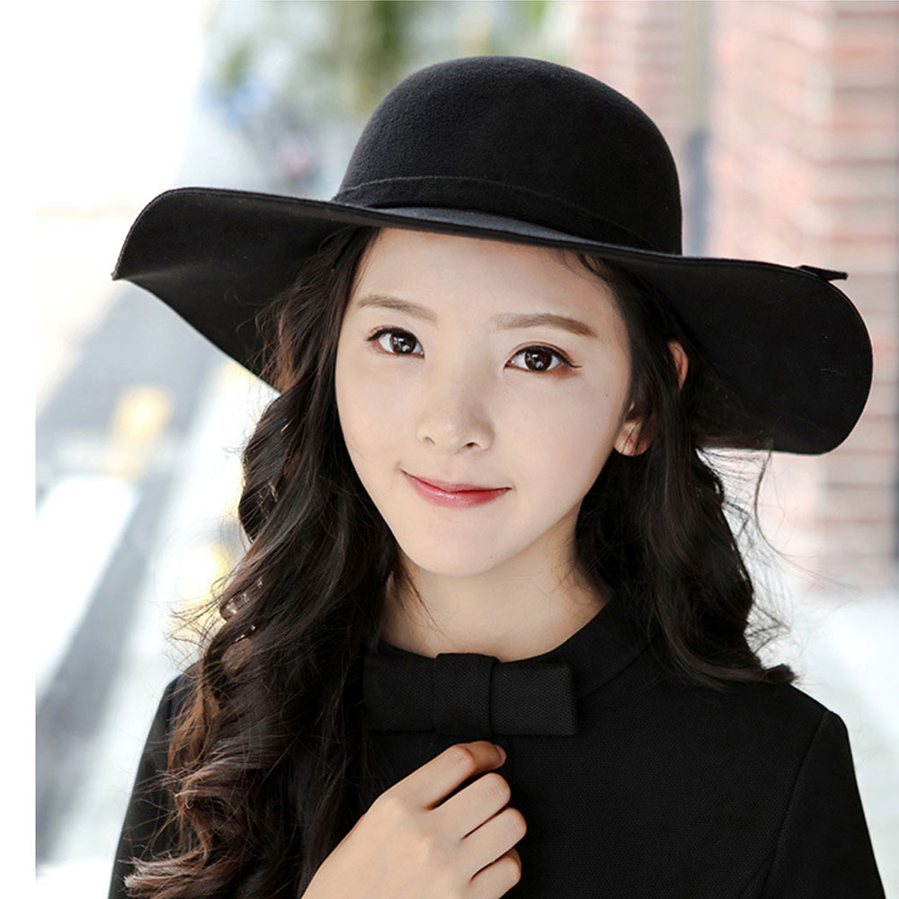 b7b21ec859c ... Women Lady Wool Felt Floppy Wide Brim Fedora Bowler Cloche Hat Cap  100%Brand new and high quality. This wide brim cloche gives a soft and  comfort touch