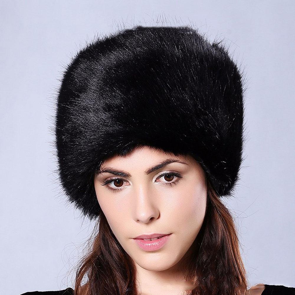 fd7491df0c4 Women Russian Cossack Fluffy Faux Fur Hat Headband Winter Outdoor Ski Hat