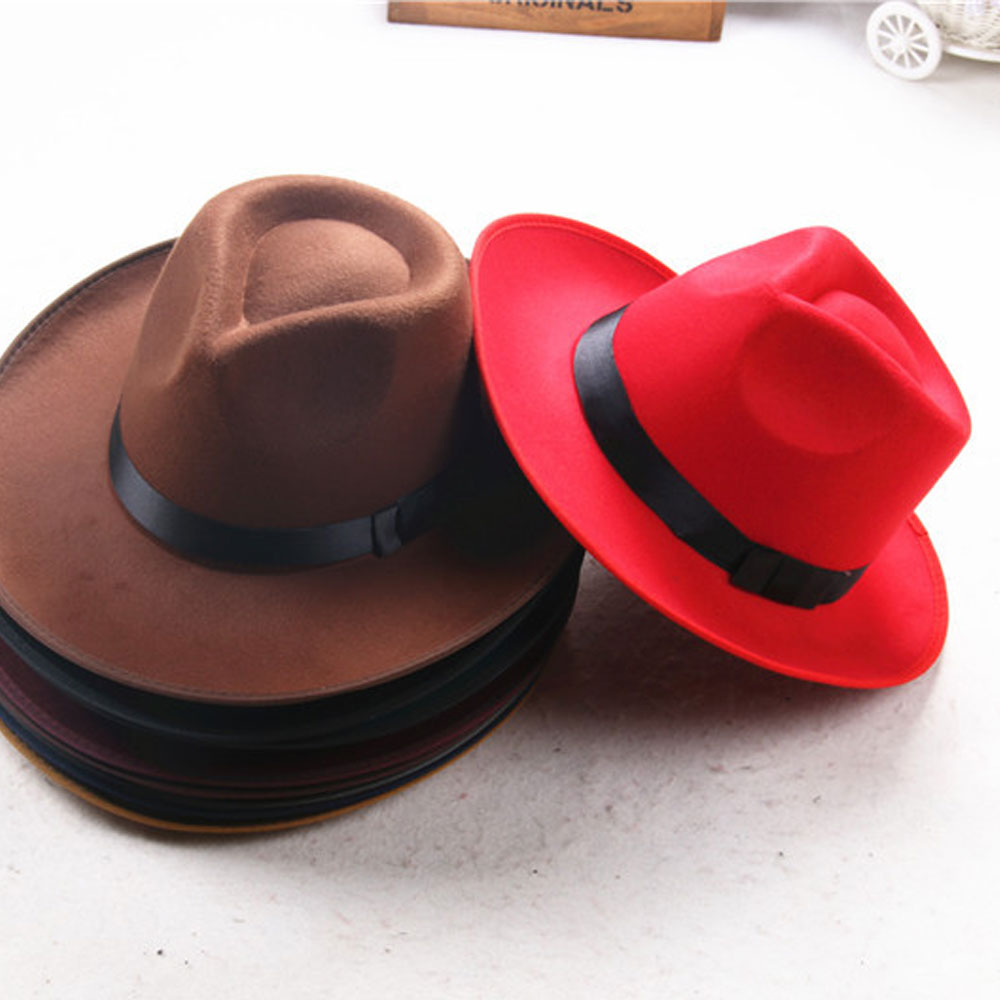 3d6038e7306b60 Felt Wide Brim Fedora Hat Material: Wool / felt. Colors:  Black,Red,Coffee,Dark Coffee,Camel Pattern: Solid Head Circumference: About  57cm