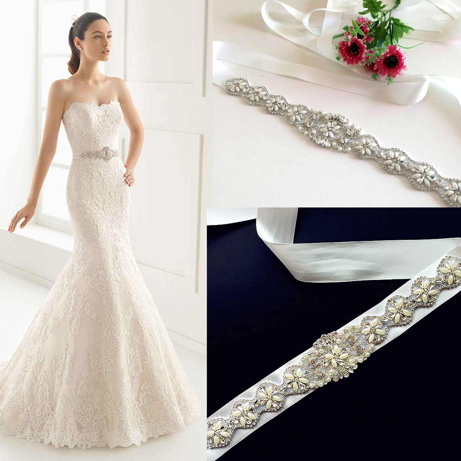 Wedding Gown Belts And Sashes: Bridal Belt Pearl Crystal Diamante Beaded Rhinestone Dress