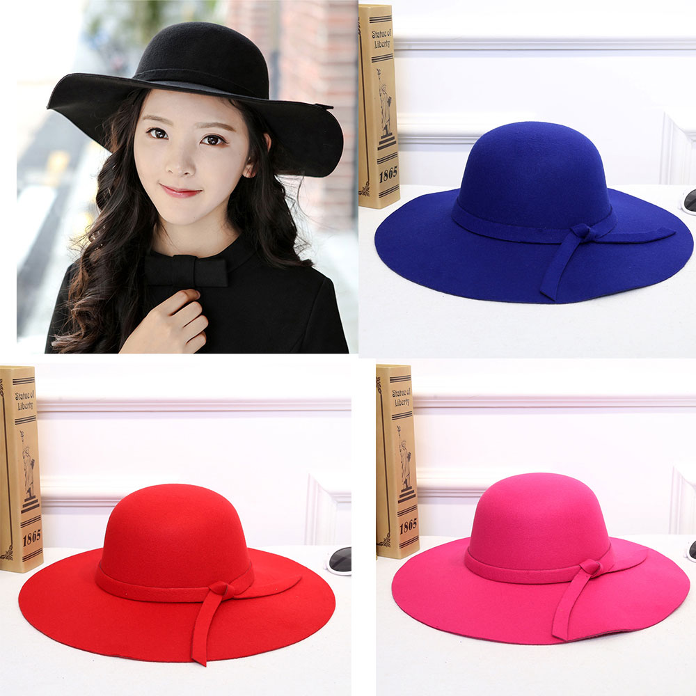 9f67a138b751d Details about Lady Vintage Wide Brim Wool Felt Bowler Hat Solid Color  Curling Cap Bow Knot Hat
