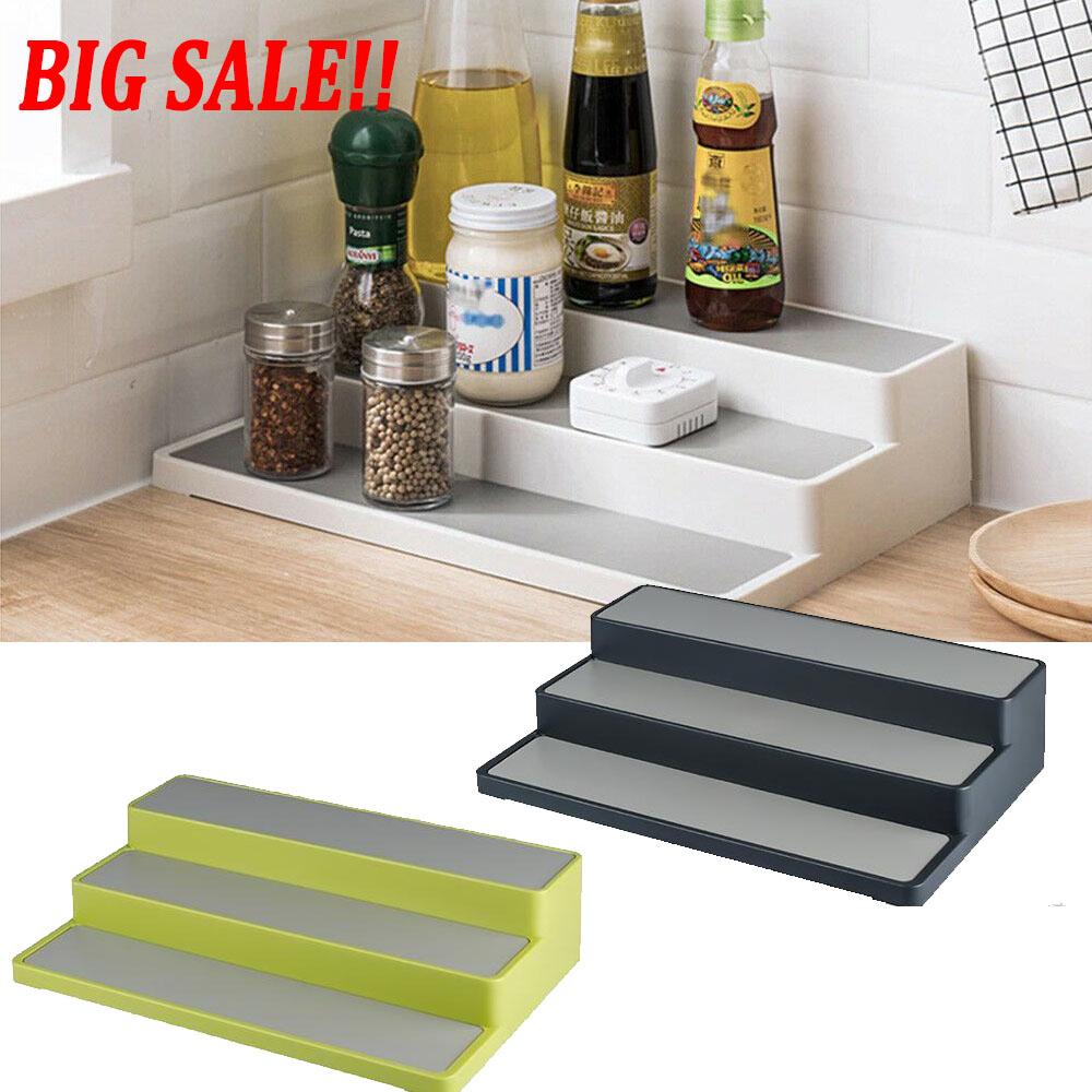 3 Tier Shelf Jar Rack Holder Cupboard Organiser Storage Kitchen Tool Supply Uk