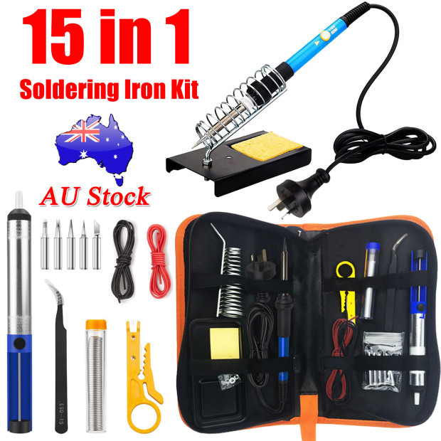 9Pc Soldering Iron Kit Electronics Welding Irons Tool Adjustable Temperature USB