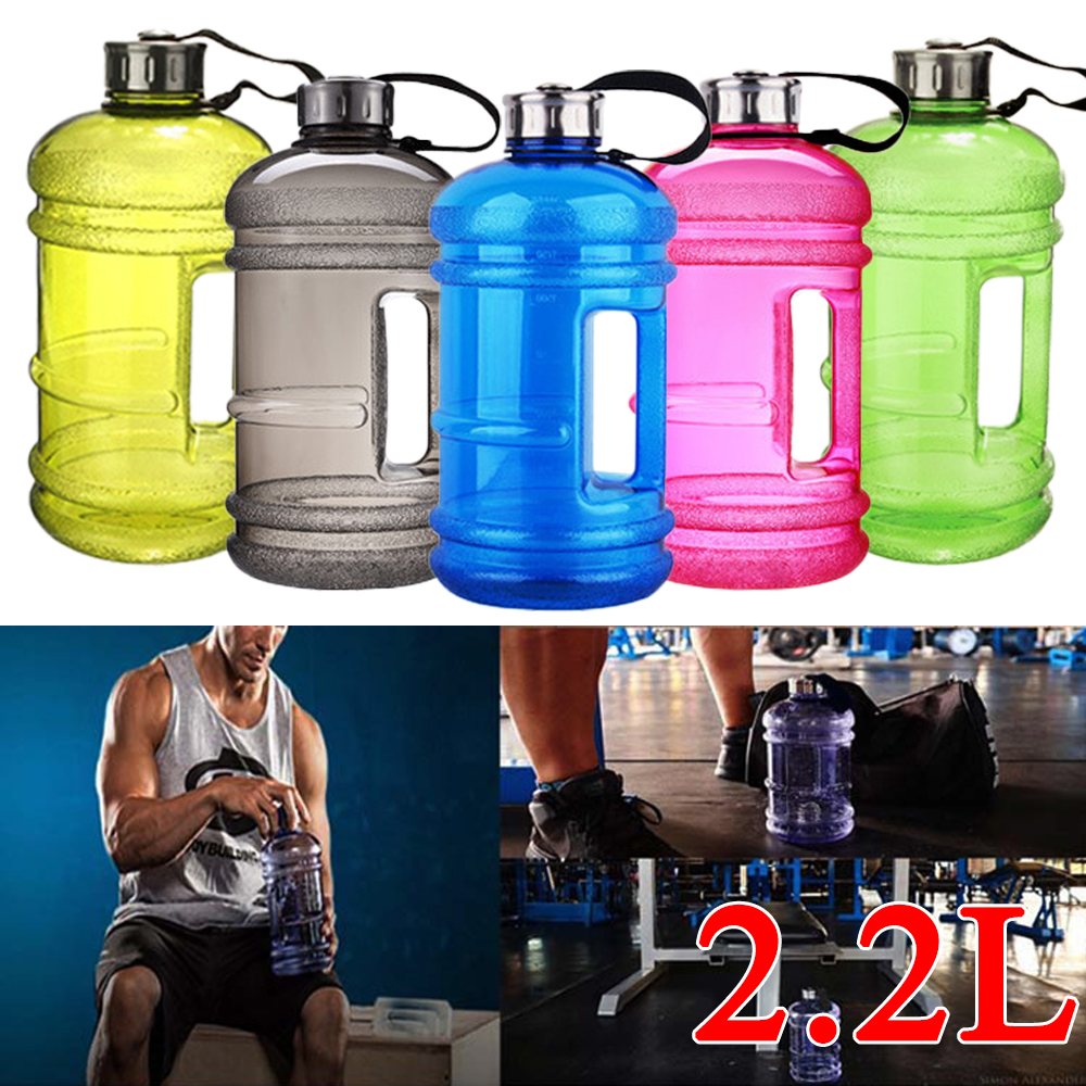 New 2.2L Big Large PETG Sport Gym Training Drink Water Bottle Kettle Camping New