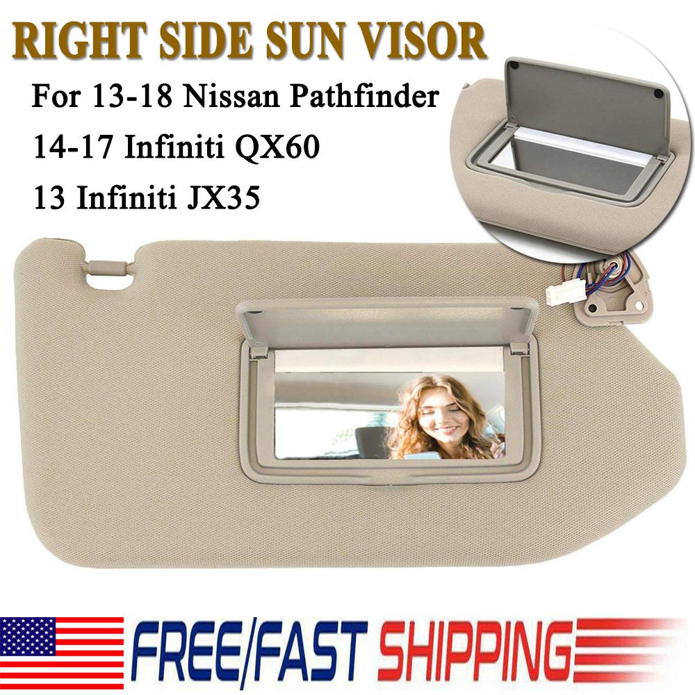 Tan Sun Visor PAIR With Lamp For 2013-2018 Pathfinder 2014-2017 Infiniti QX60