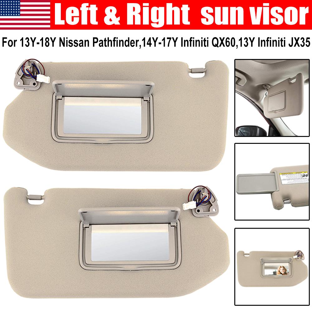 Front Left Driver Side Tan Sun Visor W//Light For Nissan Pathfinder Infiniti QX60