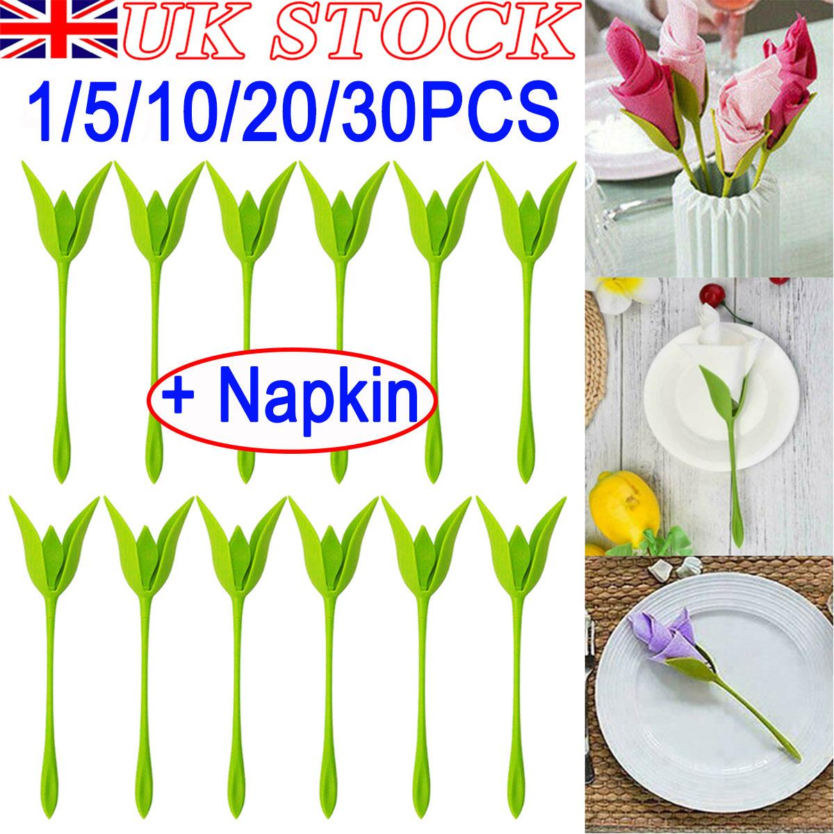 20 PCS Bloom Napkin Holders Table Plastic Twist Flower Serviette Holder Green