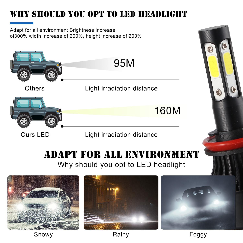 4Pcs 4-Sides H11+H11 LED Headlight Hi//Lo Beam For Dodge Grand Caravan 2011-2018