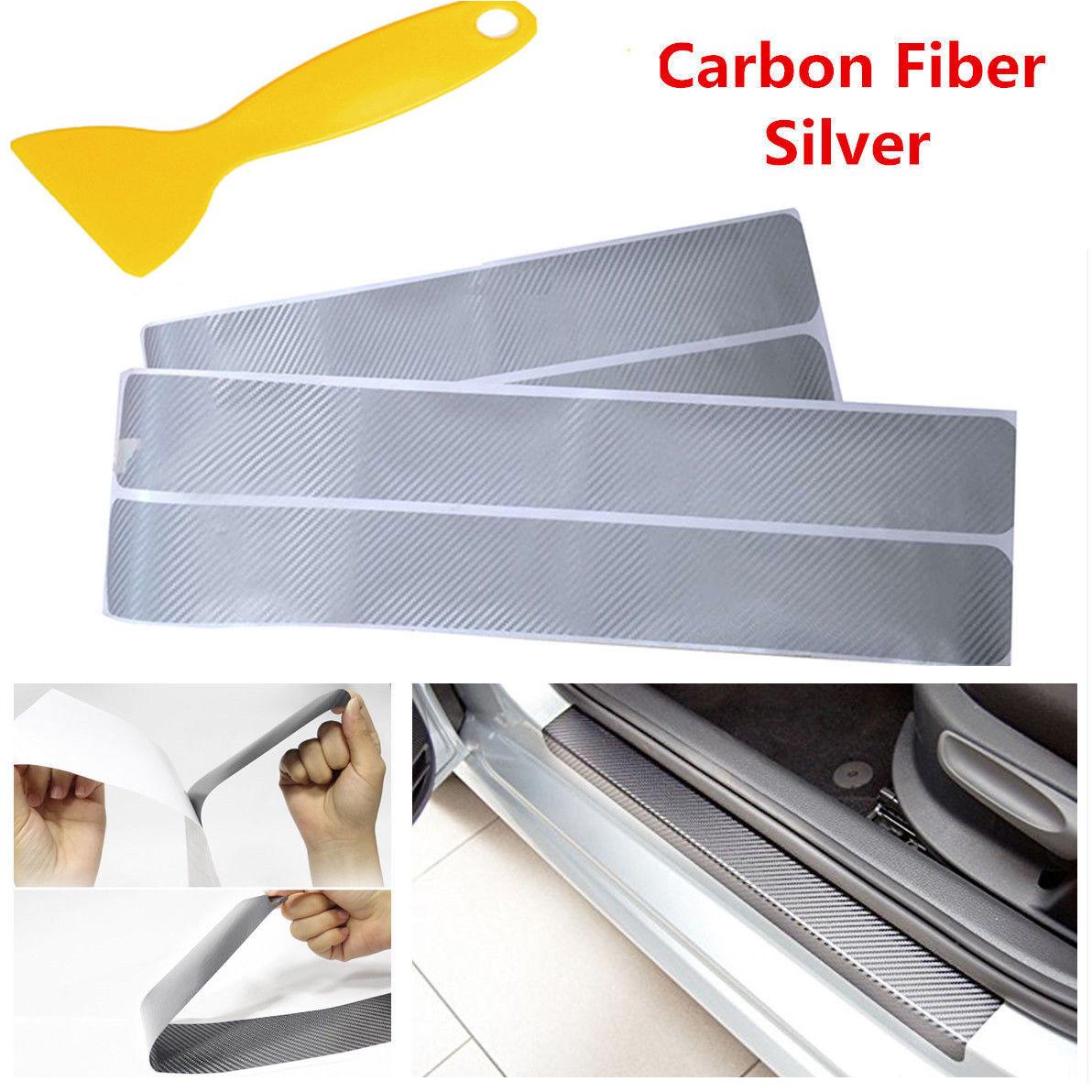 Color Name: Silver Carbon Fiber Vinyl Sticker Car Door Sill Protector Scuff Plate for Ford F150 F-150 Car Accessories