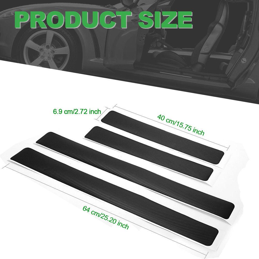 4* 3D Accessories Carbon Fiber Car Door Sill Scuff AntiScratch Decal Front Rear