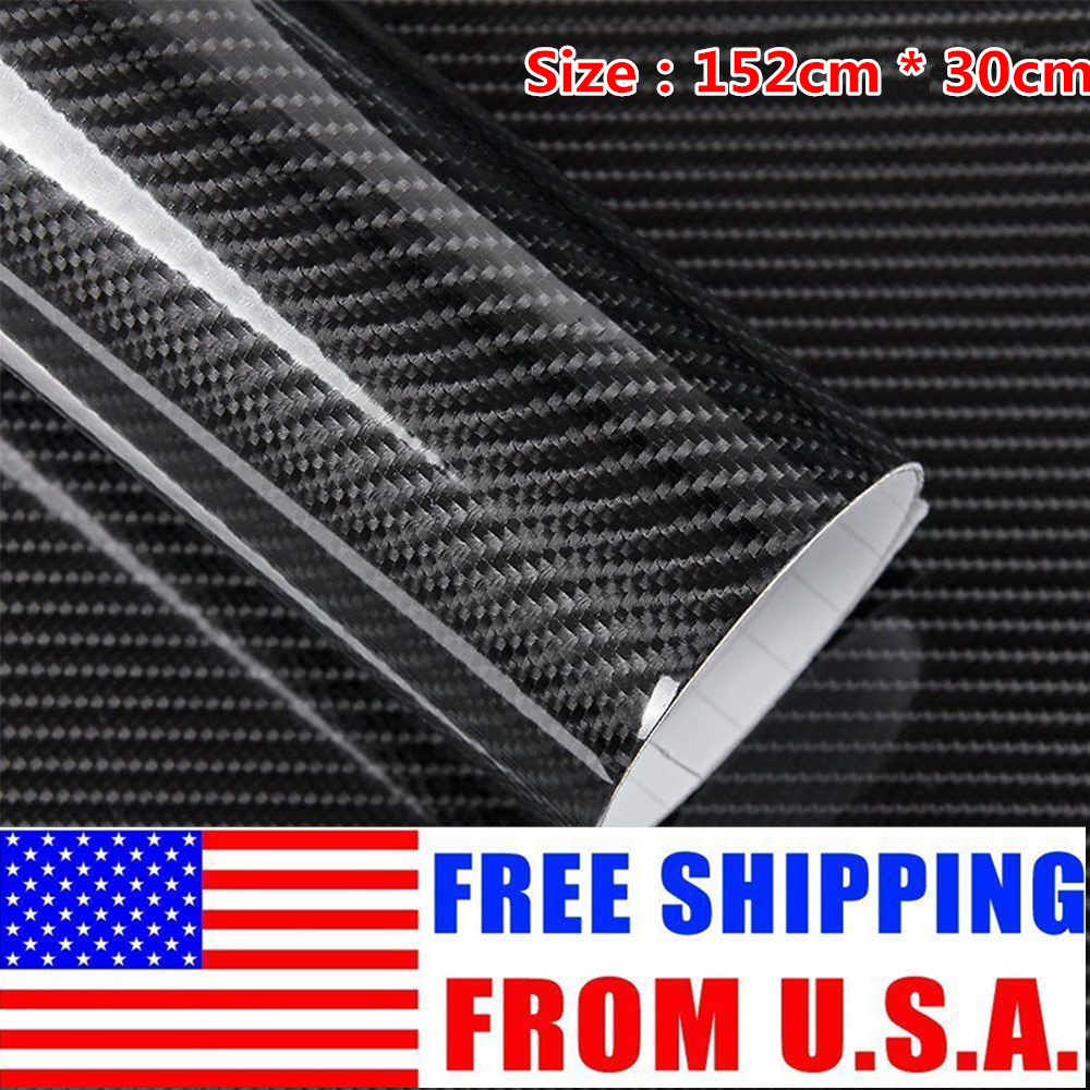 "I 4D Black Carbon Fiber Vinyl Wrap Bubble Free Air Release 24/"" x 60/"" Inch"