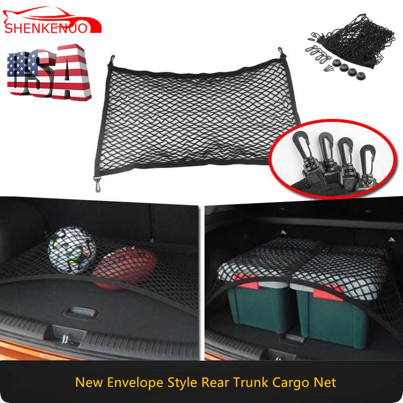 Universal Net Pocket Trunk Storage Car Luggage Net Mesh Cargo Net Wall Sticker Organizer Pouch Car Luggage Net with Hooks 110x50cm