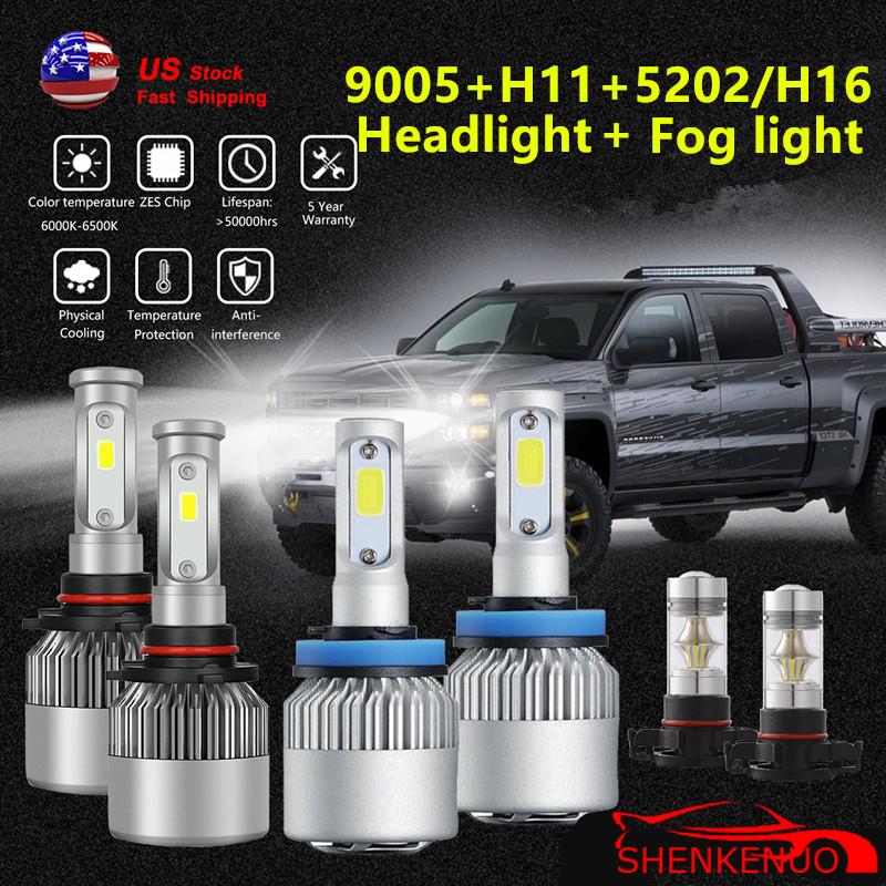 H11 9005 LED Headlight+5202 Fog Lamps for Chevy Silverado 2500 3500 HD 2007-2018