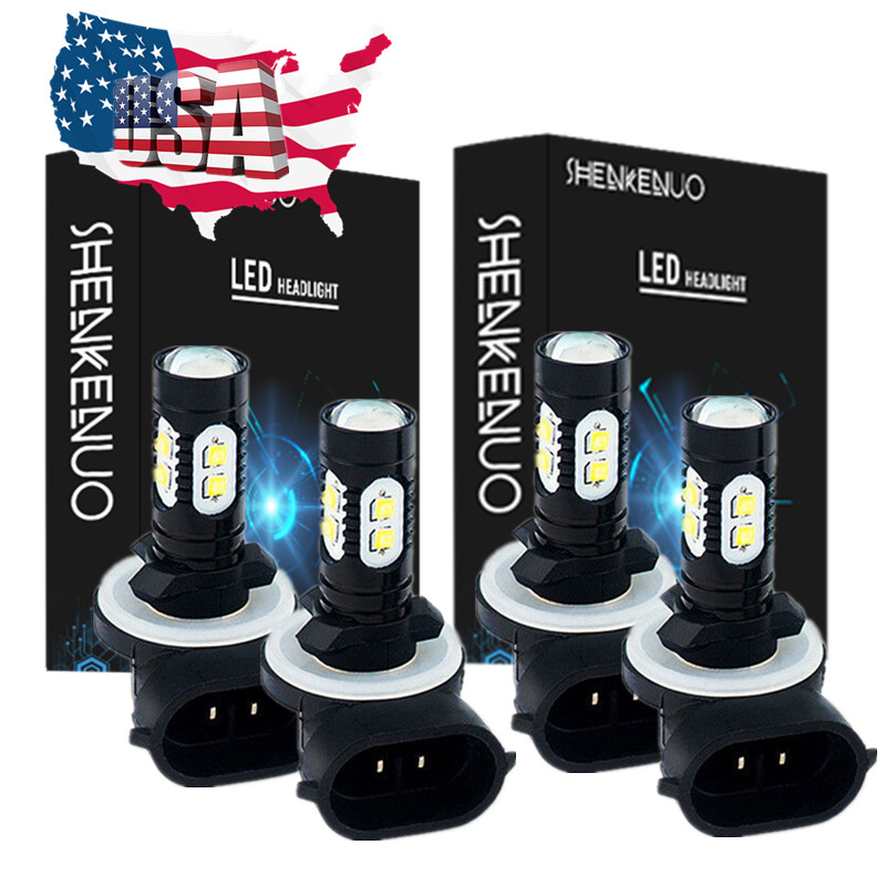ARCTIC CAT 400 500 650 700 HIGH LOW BEAM HEADLIGHT LED LIGHT BULBS 90W WHITE 4PC