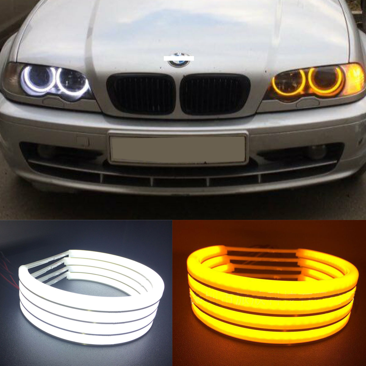White Yellow Cotton Light Angel Eyes Halo Ring Smd Led For Bmw E36 E38 E39 E46 Ebay