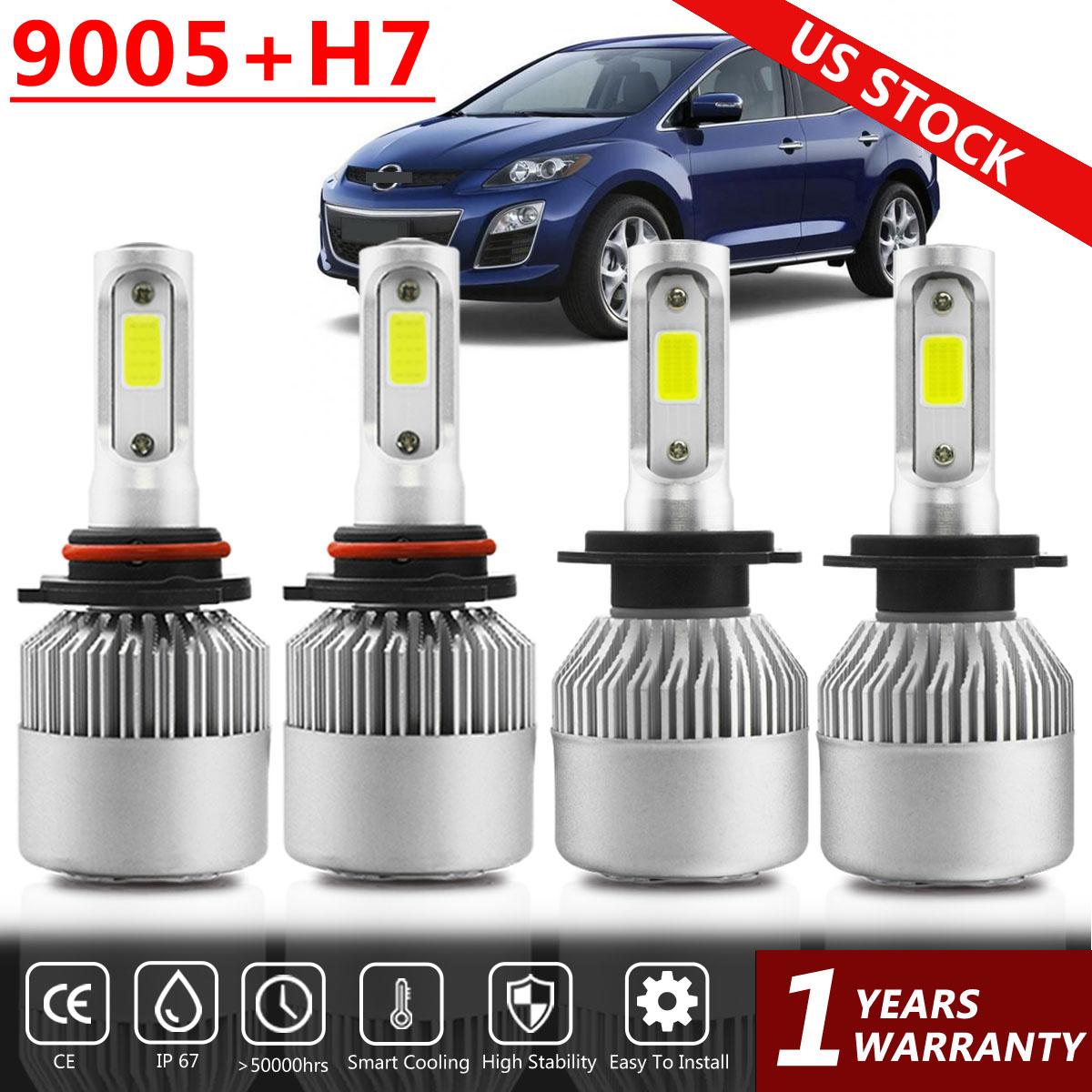 For Mazda CX-7 2007-2010 2011 2012 9005 H7 LED Headlight Combo White 4 Bulbs S2