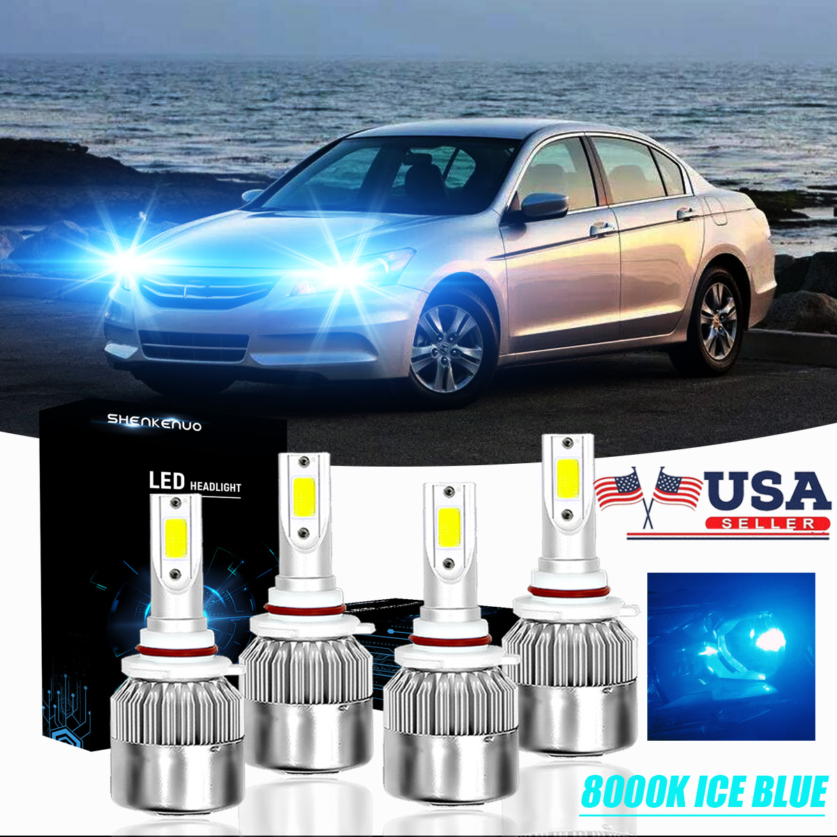 4x LED Headlights Bulbs 8000K 9005 9006 For Honda Accord 1990-2012 Civic 2004-15