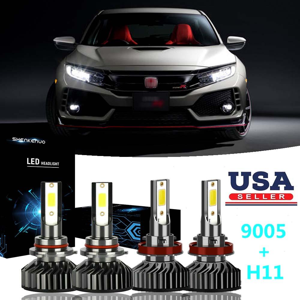 9005+H11+H11 LED Headlight Kit for Honda Civic 2014-2018 High Low Beam Fog Bulbs