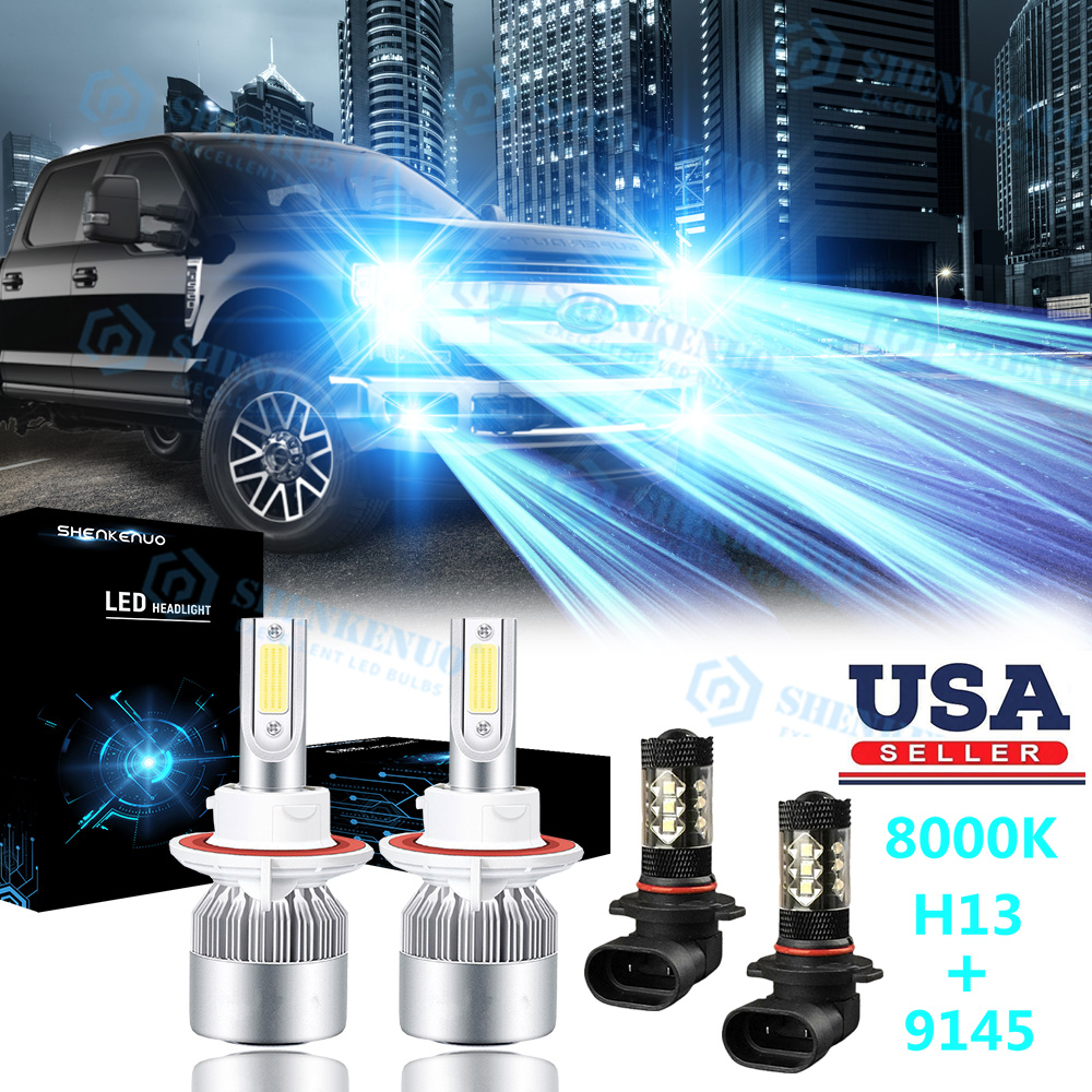 4X 8000K Ice Blue LED COB Headlight Bulbs Fog Light For Ford F-150 2004-2014