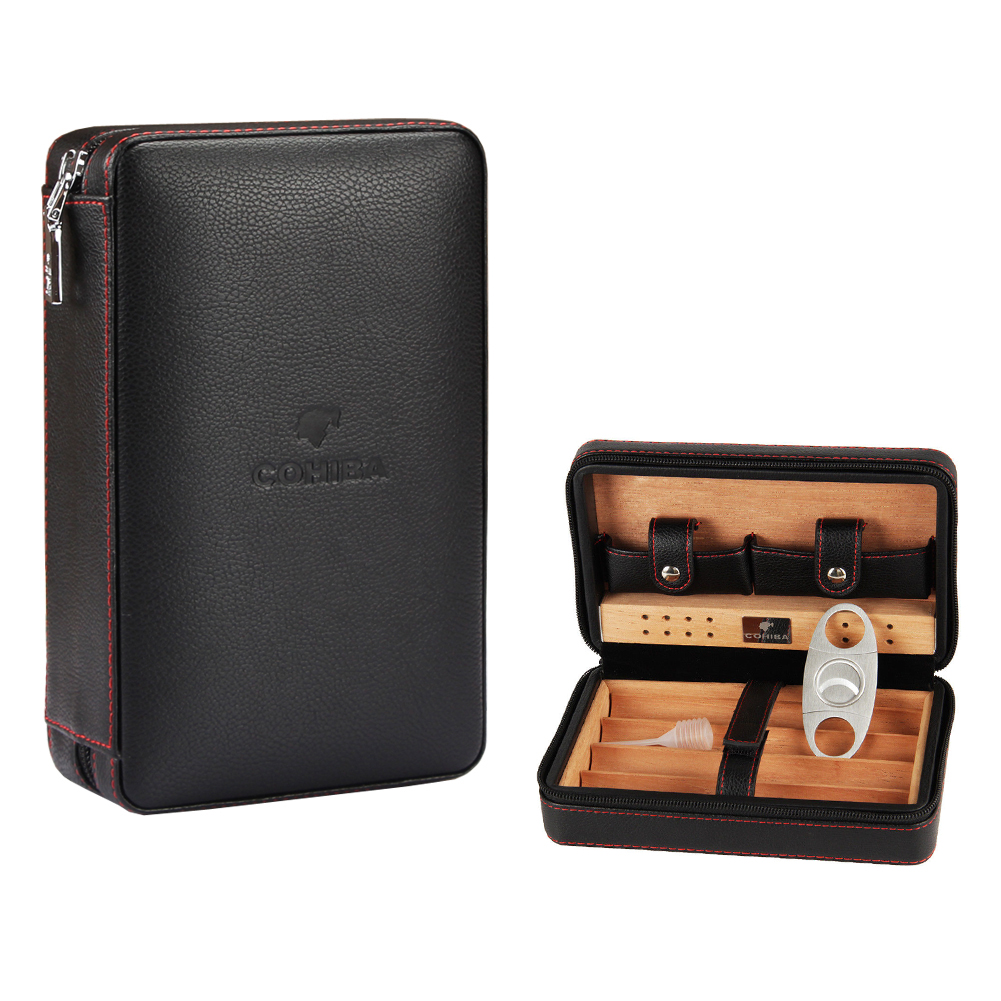 COHIBA Black Leather Cedar Cigar Case Humidor Cutter Lighter Set 4 Count