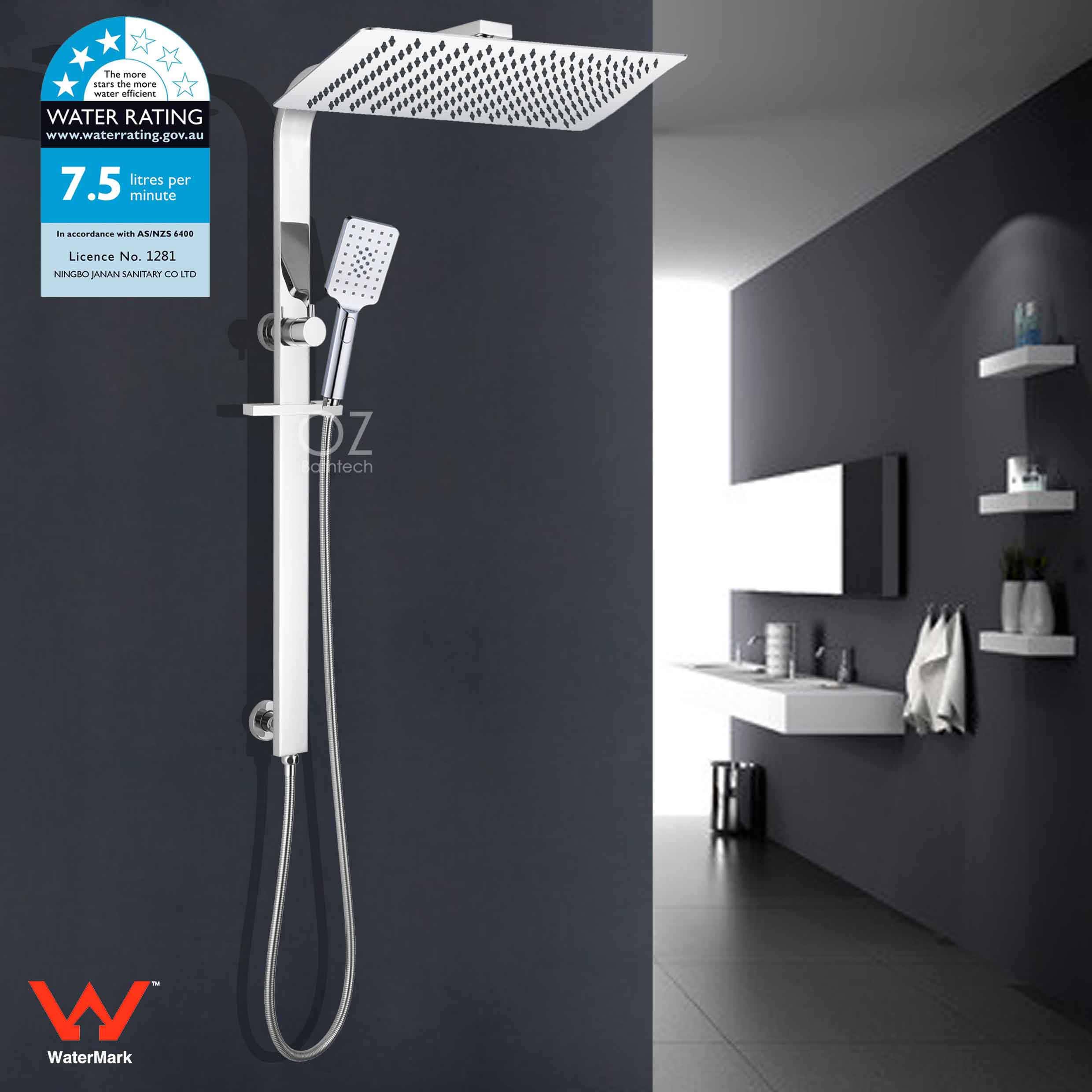 Details About Wels 16 Inch Luxury Rainfall Shower Head Hand Held Rail Kit Arm 2in1 Set Chrome