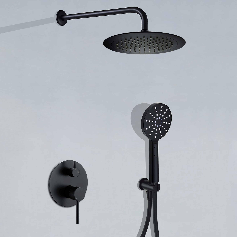 Black 9 Rain Shower Set Wall Arm Hand Shower Kit Concealed 2 Ways Mixer Valve Ebay