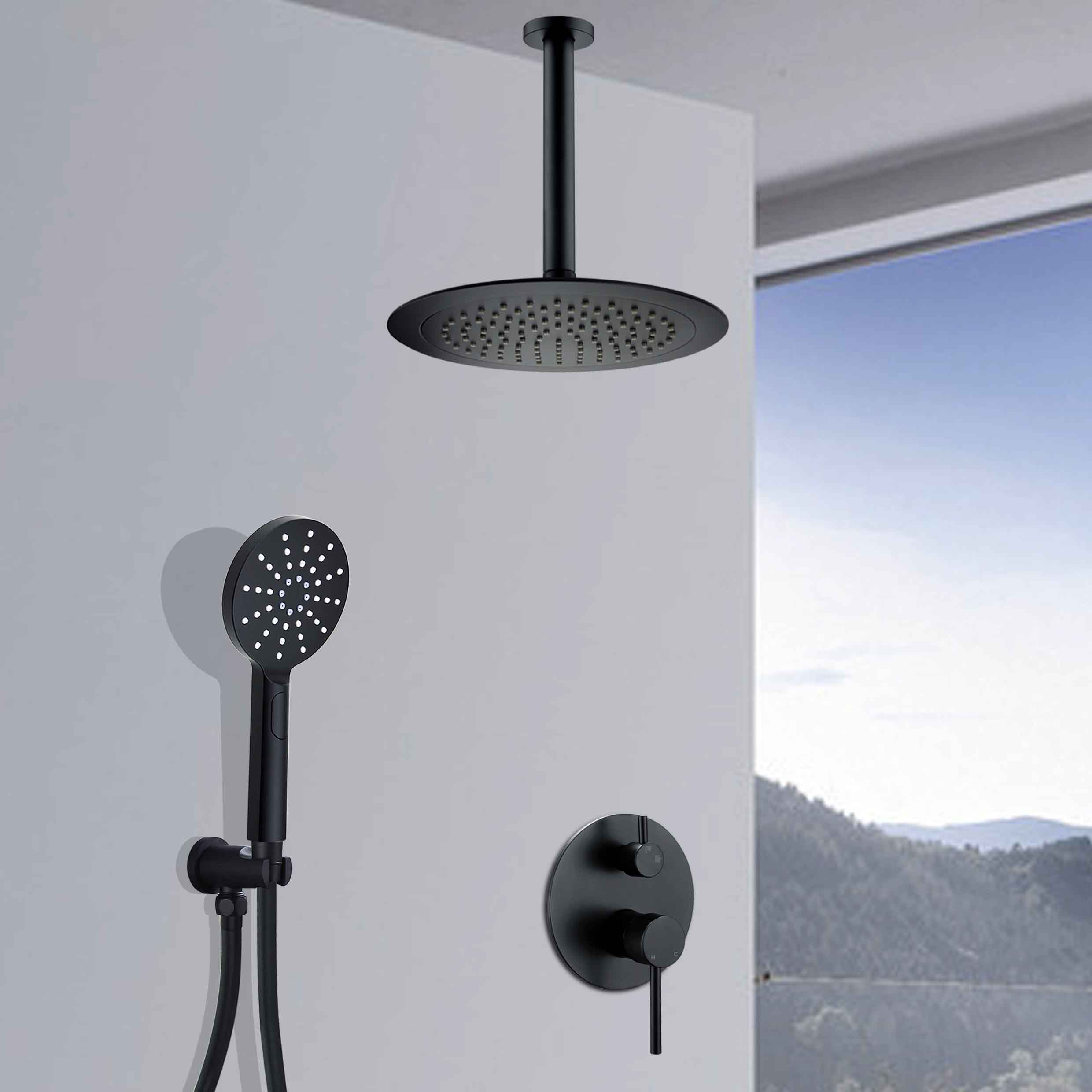 Details About Matte Black Shower Set 9 Rainfall Shower Head Mixer Valve Brass Ceiling Arm