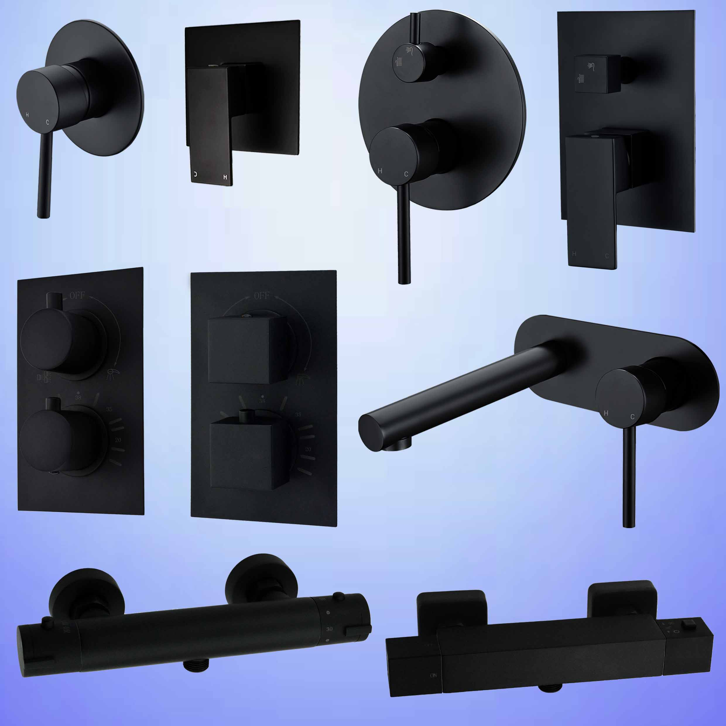 Concealed Shower Mixer Valve Wall Basin Tap Bath Spout Thermostatic 2 Way Black