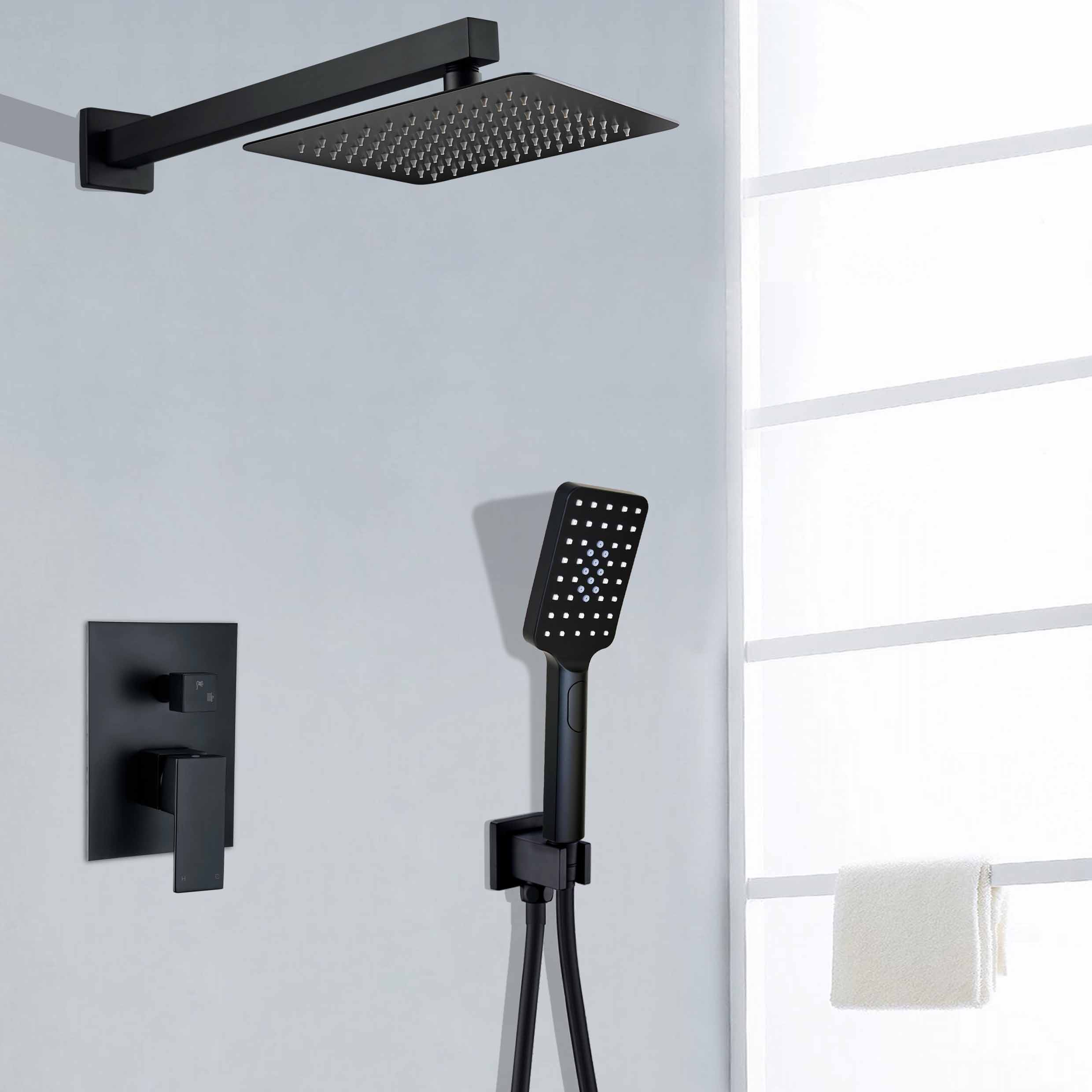 Details About Matte Black Twin Shower Set 8 Sus Head Wall Arm Handset Kit 2 Way Mixer Valve