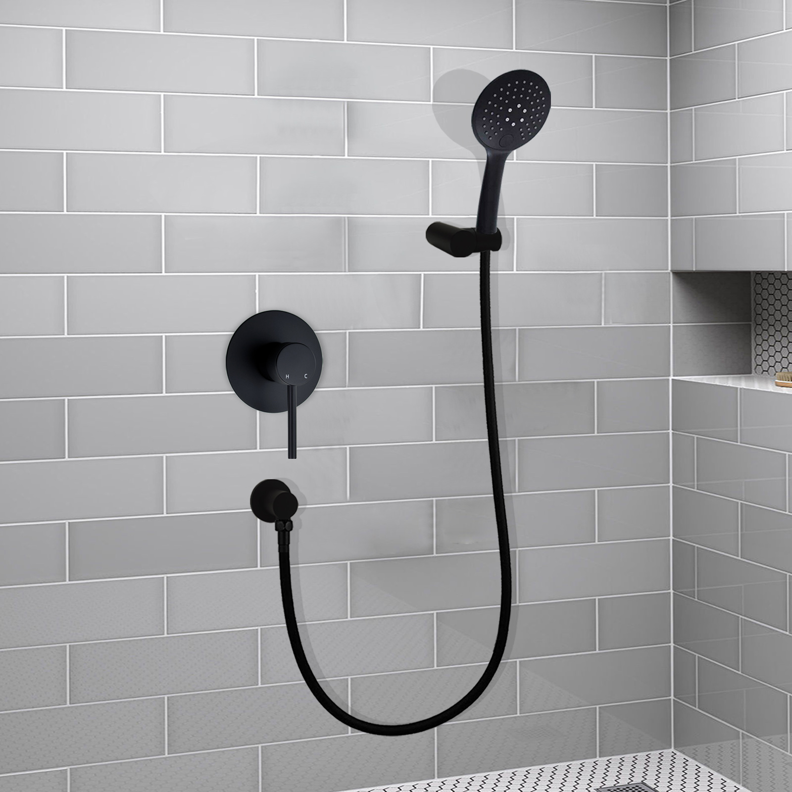Details About 3 Modes Handheld Shower Head Concealed Mixer Valve Tap Muti Position Matte Black