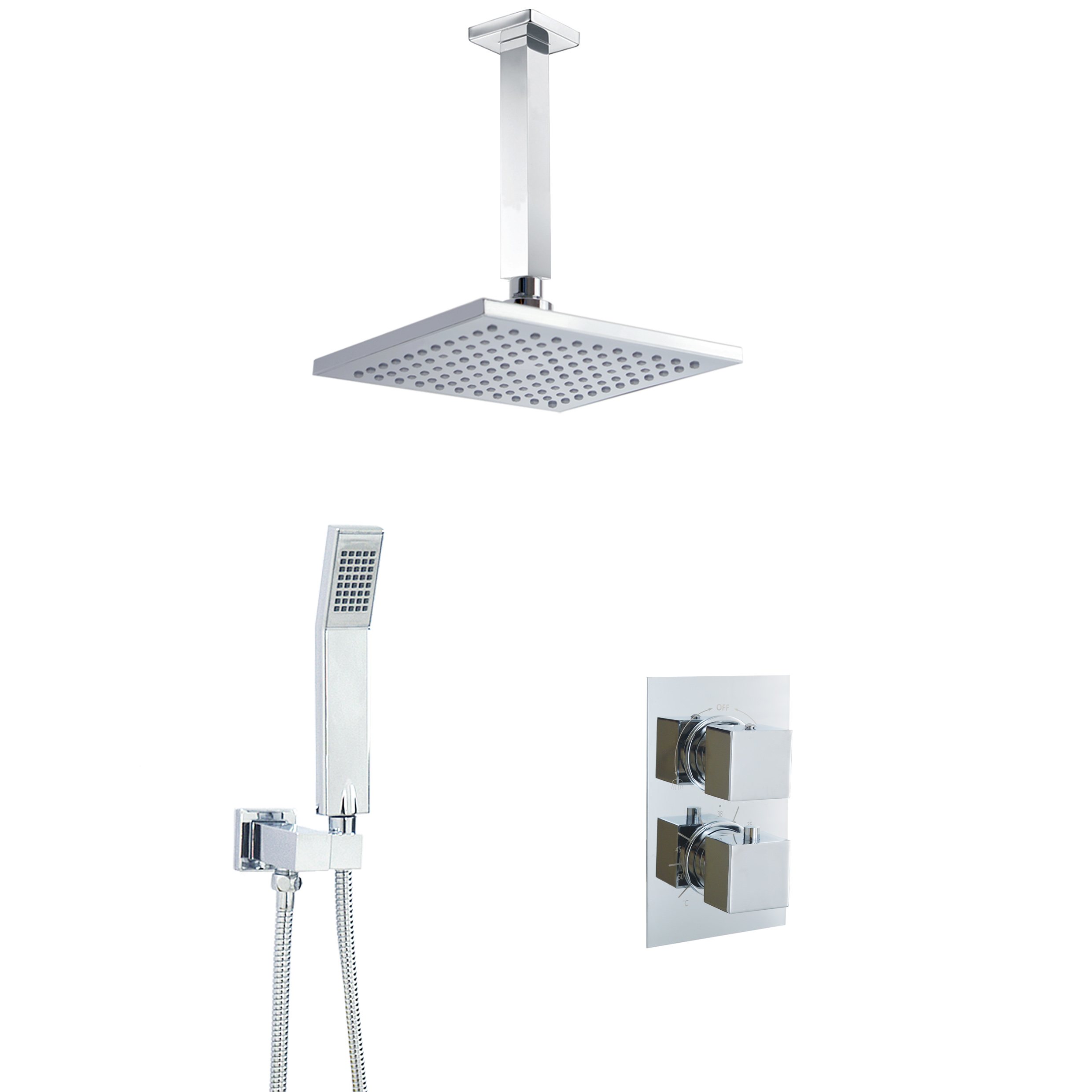 Details About Square Shower Overhead Set Bathroom Kit Concealed 2 Way Thermostatic Mixer Valve