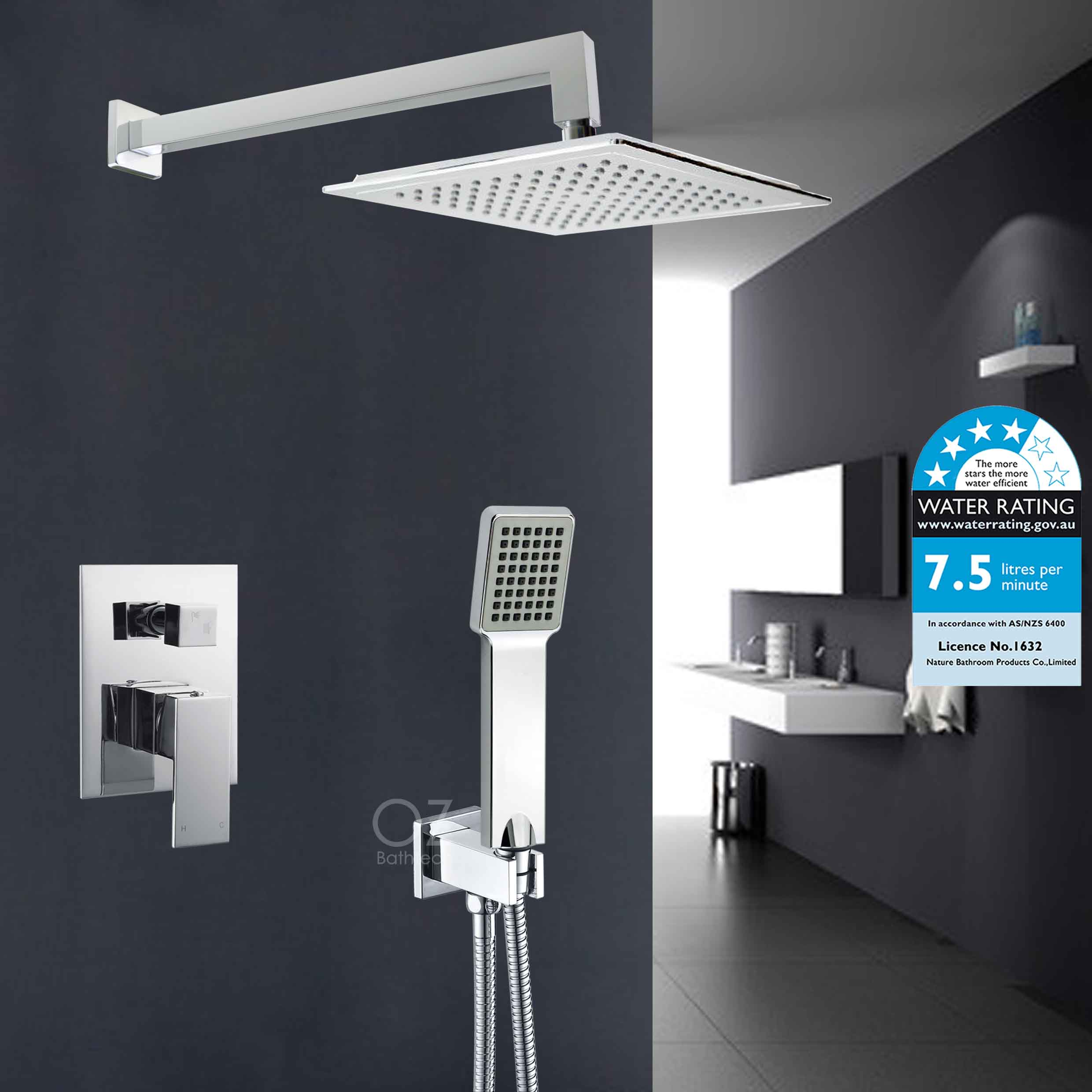 Details About Bathroom Square 9 Rain Shower Head Handheld Spray Wall Arm Mixer Diverter Set