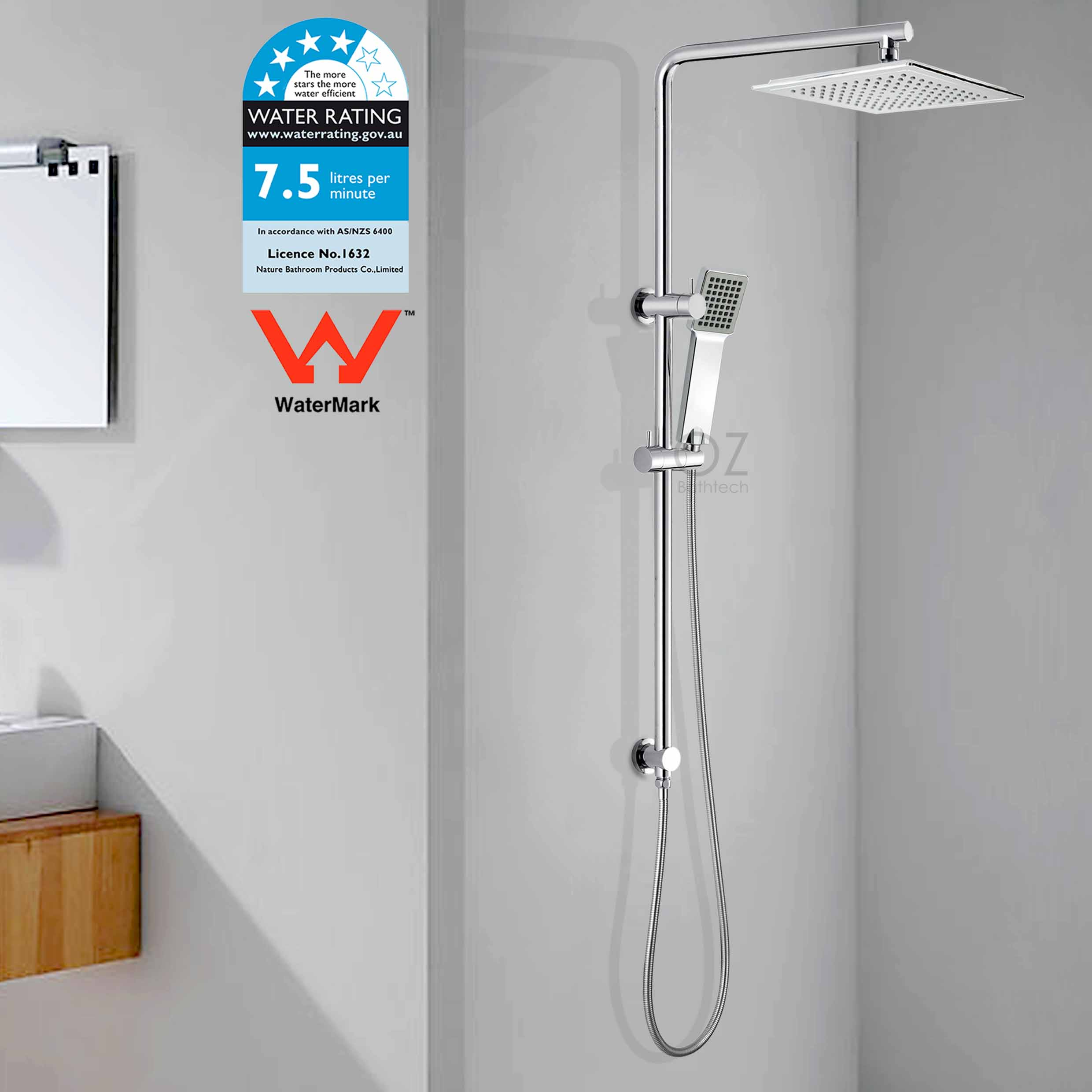 Details About Wels Twin Square Rain Shower Head Rail Diverter Arm Handheld Spray Column Set